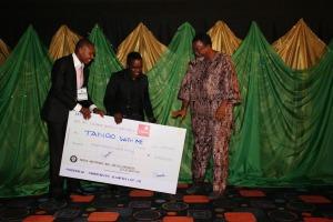(L - R) Homevida Administrator - Samuel Umejiaku, UN Representative - Jude Abaga and Winner of the 2011 Faith Feature Film Category - Mahmood Ali-Balogun for Tango With Me