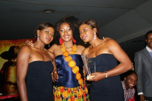 Red carpet host of the evening, Rachel Bakam and the Anaeke twins